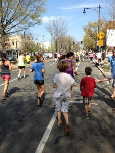 At mile 22 of last year's Boston Marathon, my kids jumped in for a few moments and ran with me. I'll forever cherish this memory.