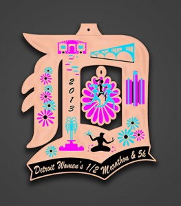 The finisher medal (a charm you can put onto a necklace) that will be given out at this fall's inaugural Detroit Women's Half Marathon.