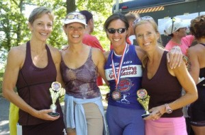 Eva Solomon (wearing blue) with some of her running friends. Eva is the owner and founder of Epic Races, which is behind the Detroit Women's Half Marathon and 5K. She is co-race director with Mary Culbertson.