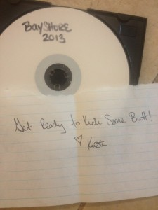 Gift from Krista before race day: awesome running tunes to add to my playlist.