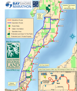 The Bayshore race course, for the 10K, Half & Full distances./ Map courtesy Traverse City Track Club