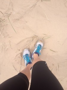 Dune grass, beach sand, happy Michigan runner.