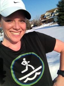 """Badass Michigan runner wearing short sleeves in the snow this winter."" Yep. That's how we do it here!"