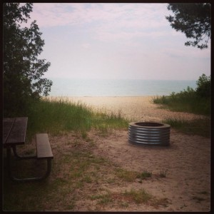 Our beachside campsite at Harrisville State Park. What a view from our tent!
