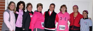 "Lorrie and 7 of her girlfriends getting ready to leave for a 5K race.  ""With this photo, if you think about it, 1 in 8 women will develop breast cancer in her life and there are 8 of us and 1 has had breast cancer. Everytime I see I think about that,"" Lorrie shared with me."