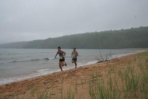 Eric Houghton and Ed Roginski pushing the pace at mile 8, Trout Bay, Lake Superior./photo courtesy Great Lakes Endurance.