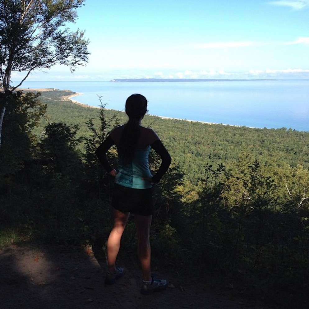 One of my favorite running moments from the past year: climbing Alligator Hill in Leelanau County with my friend Lisa. This view was our reward.