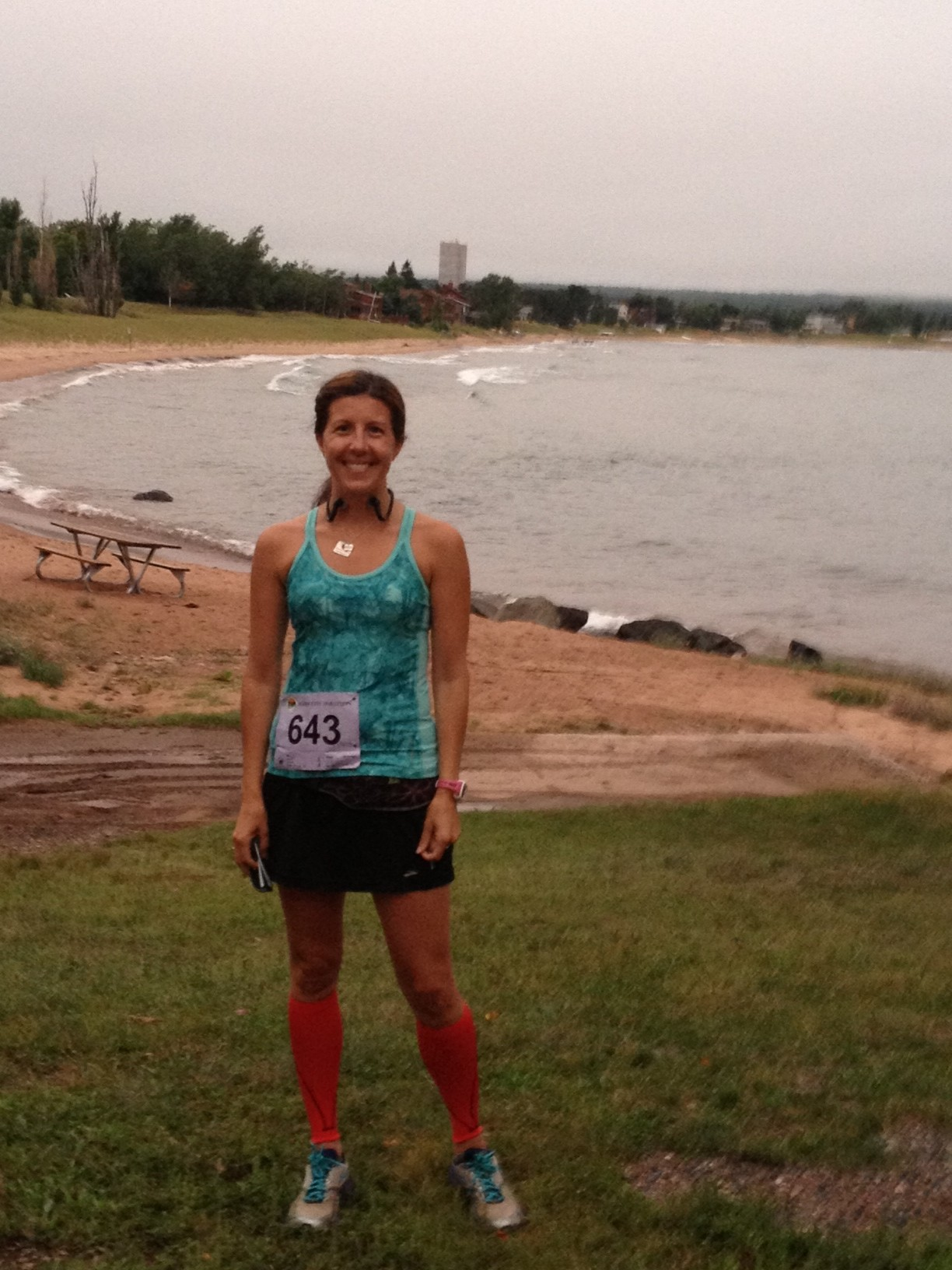 At the race start, along Lake Superior.