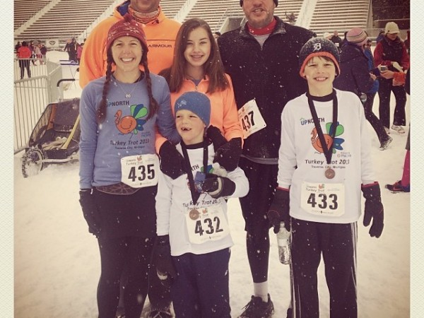Freezing family turkey trot! That's Jason, by brother-in-law, in orange behind me, with Joe next to him and our three kids ~ Up North Media Turkey Trot 2013.
