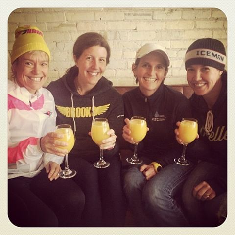 Celebrating running, friendship and birthdays after our wintry run this past weekend.