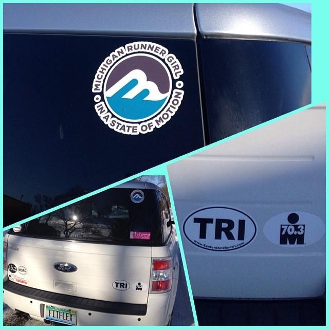 Midland endurance athlete Maggie added an MRG sticker to her car. (Love picture montage, Maggie!)