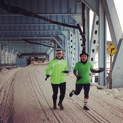 """My friend Nancy and I keeping it weird while running across the Portage Lake Lift Bridge on the lower portion (usually reserved for snowmobilers) that connects our peninsula to the rest of the Upper Peninsula. We didn't get arrested (phew)!"""