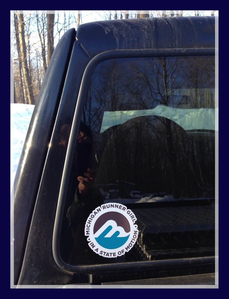 Northern Michigan runner Terry put her sticker on her back window.