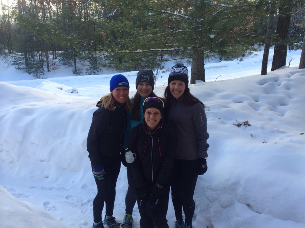 Ready to tackle another weekend training run with Katie (far left, founder of Naturally Nutty), Erin (top middle) and Pam (in front of Erin).