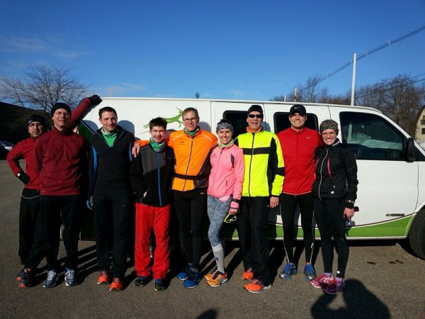 Running with friends is one way to stay motivated throughout winter. /Photo of the Gazelle Sports Holland Running Group, provided by Allison Eisen.