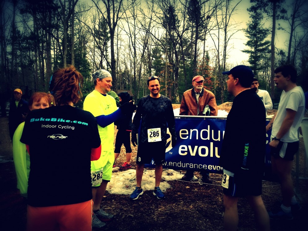Author Dan Holmes (#286), at the start line of last weekend's Traverse City Trail Running Festival 10K Team Relay.