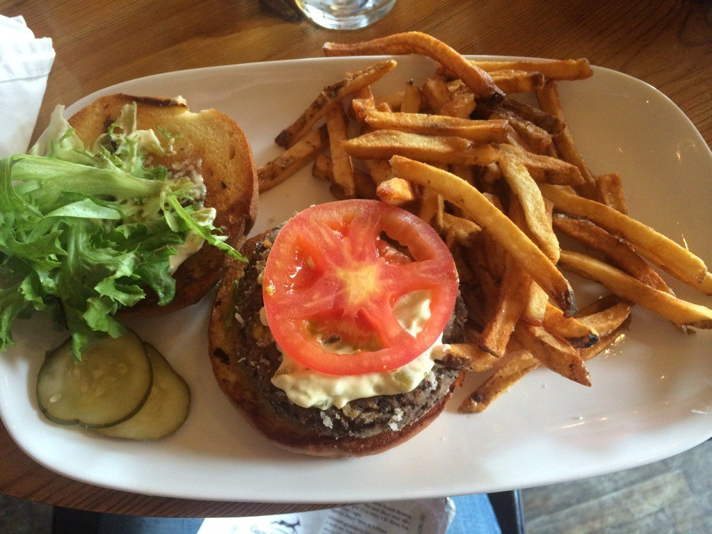 My black bean burger with fries = sooo good. (I also enjoyed a Bloody Mary from their Bloody Mary bar. Yum.)