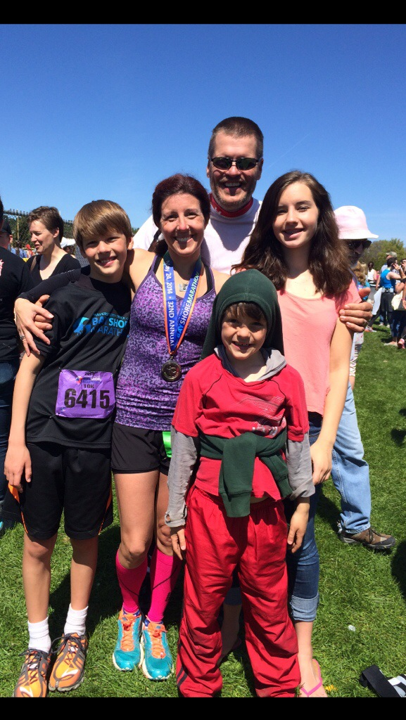 A family moment, post-race. So thankful for their love and support. (And Andrew (far left) got his PR in the 10K!)