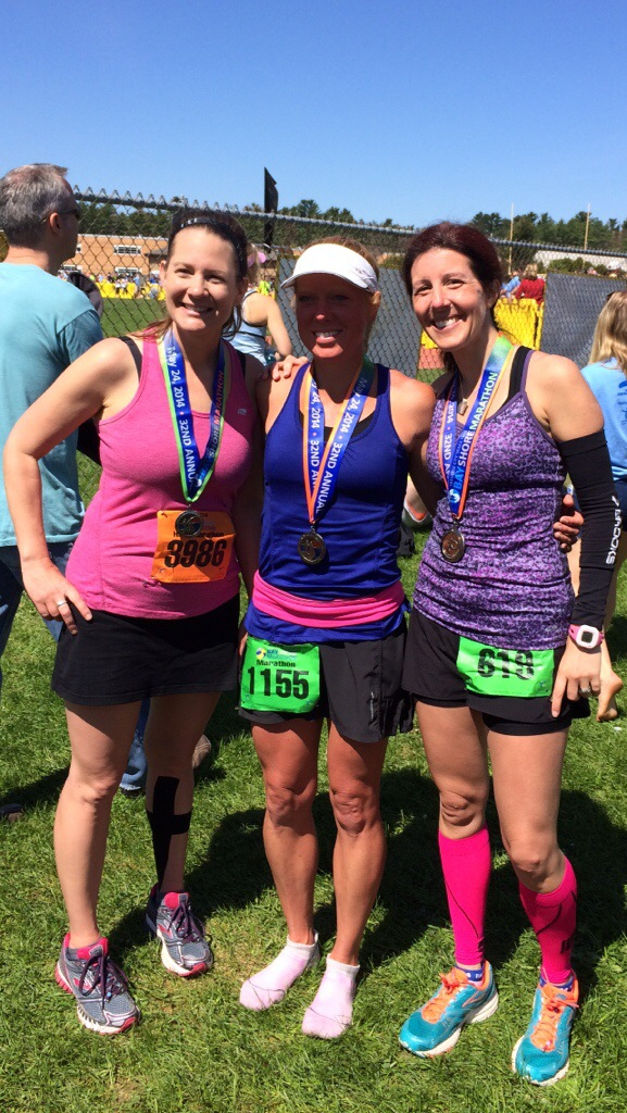 We did it! Left to right, that's Erin (rocked the half marathon), Katie, and me.