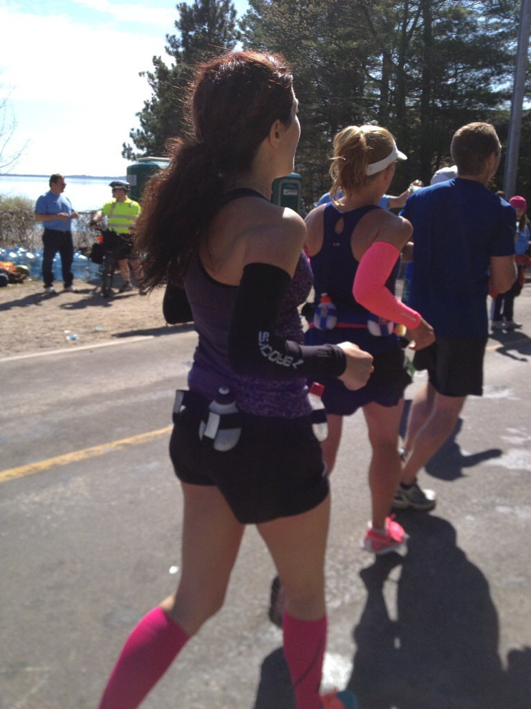 Katie (white visor, pink armbands) and me as we make our way back onto East Shore Drive.