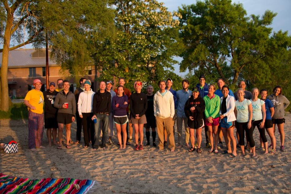 Last year's Solstice Run participants enjoyed time together on the beach after completing the overnight run.