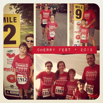 Heather and her family at the National Cherry Festival Meijer Festival of Races.