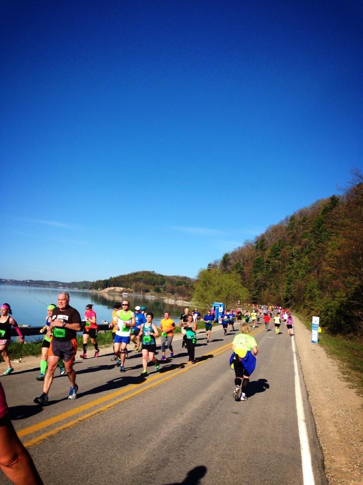 Crossing paths with Bayshore marathon runners.