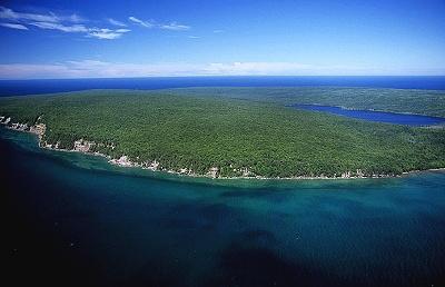 Aerial shot of Grand Island. /photo courtesy www.airphotona.com