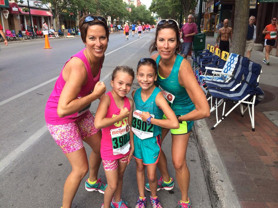 5K Finishers! Dena, Kaylee, Morisa and Tina on Front Street after the race.