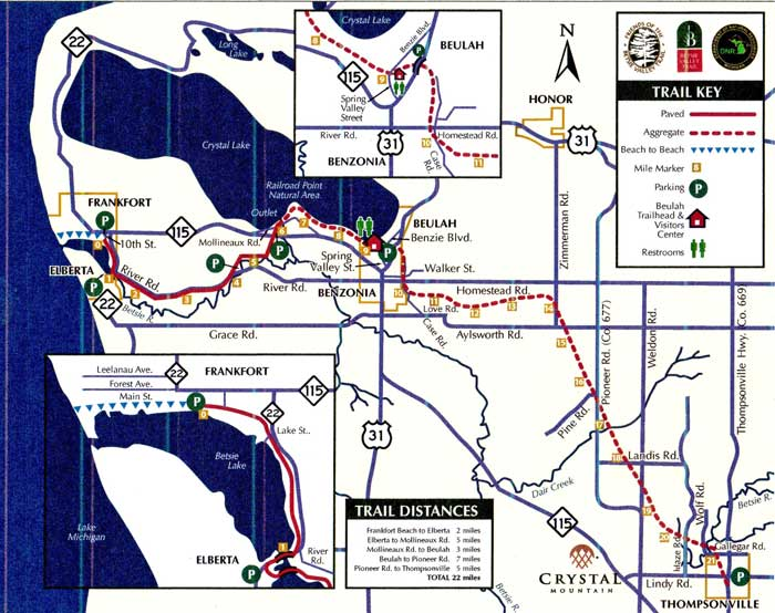 Betsie Valley Trail map./image courtesy Friends of the Betsie Valley Trail.