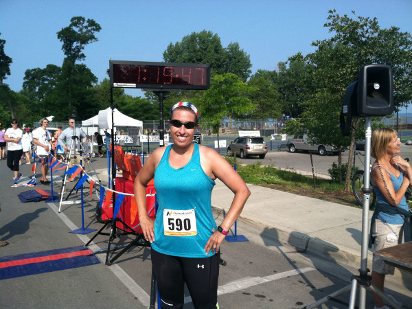 Kelly at the finish of this summer's Harborun in Elk Rapids, Mich.