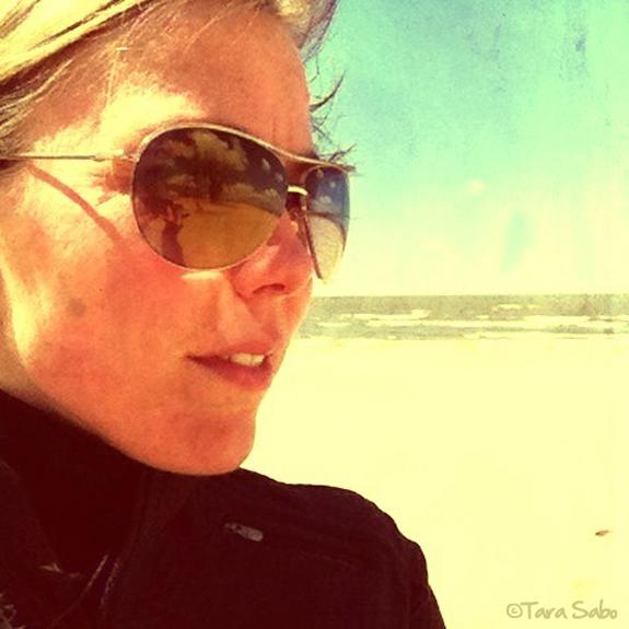 Running at the beach.