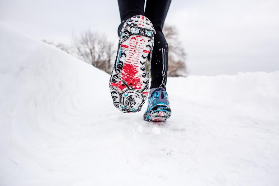 Traction for your shoes is a must on snowy, icy roads.