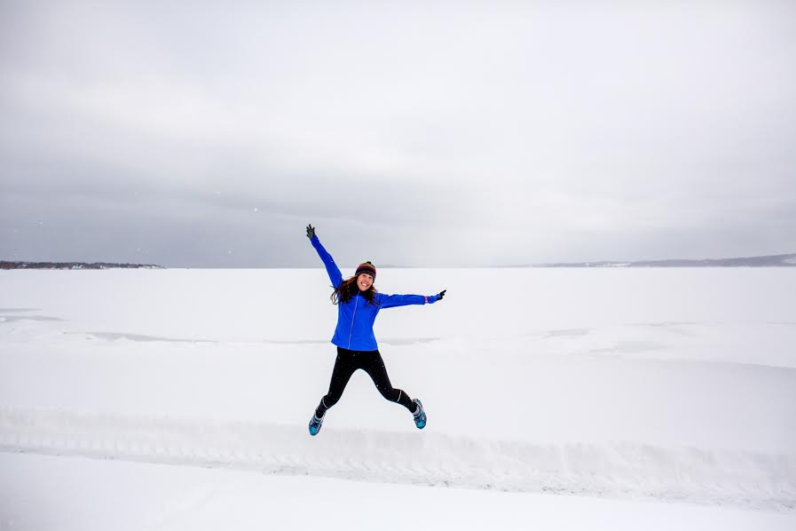 OK, so I don't normally break out this kind of move during my runs...but we were having fun with this winter photo shoot. And I do feel happy running in colder weather.