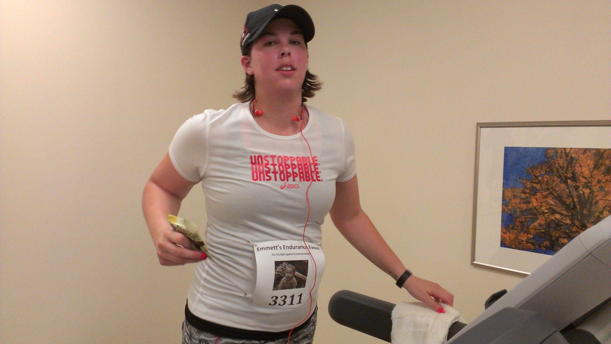 Kathy, running on the hospital treadmill.