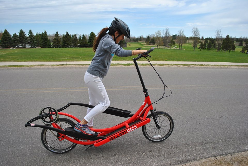 It took a little getting used to, but riding an ElliptiGO is a ton of fun. You're standing the entire time and can work up quite a sweat if you push it, especially when climbing hills. It's a great work-out, and definitely easier on the legs compared to running.