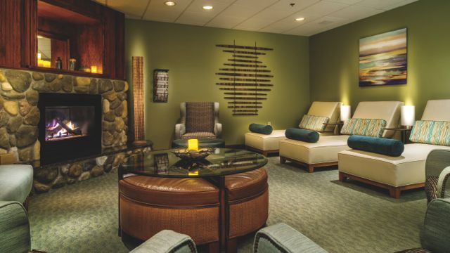 "The ""relaxation room"" at the Grand Traverse Resort & Spa. I made myself comfortable here for a bit after my post-Boston massage."
