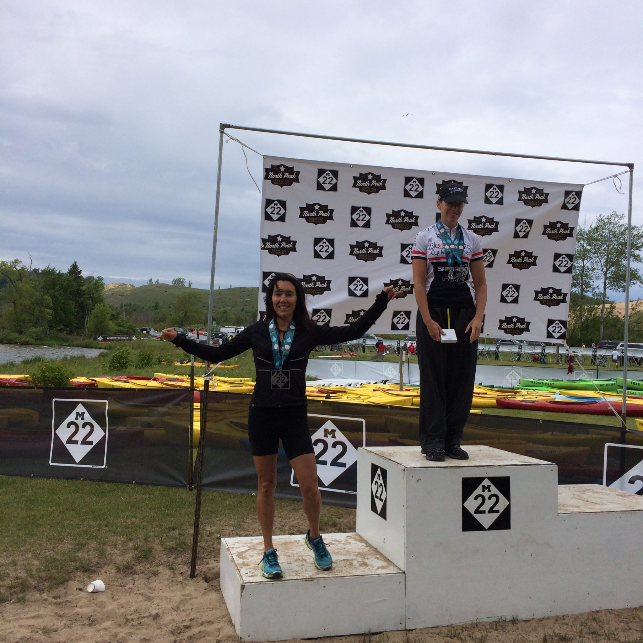 Jennifer on the podium -- she earned a third-place age-group winner award. Way to go, my friend!
