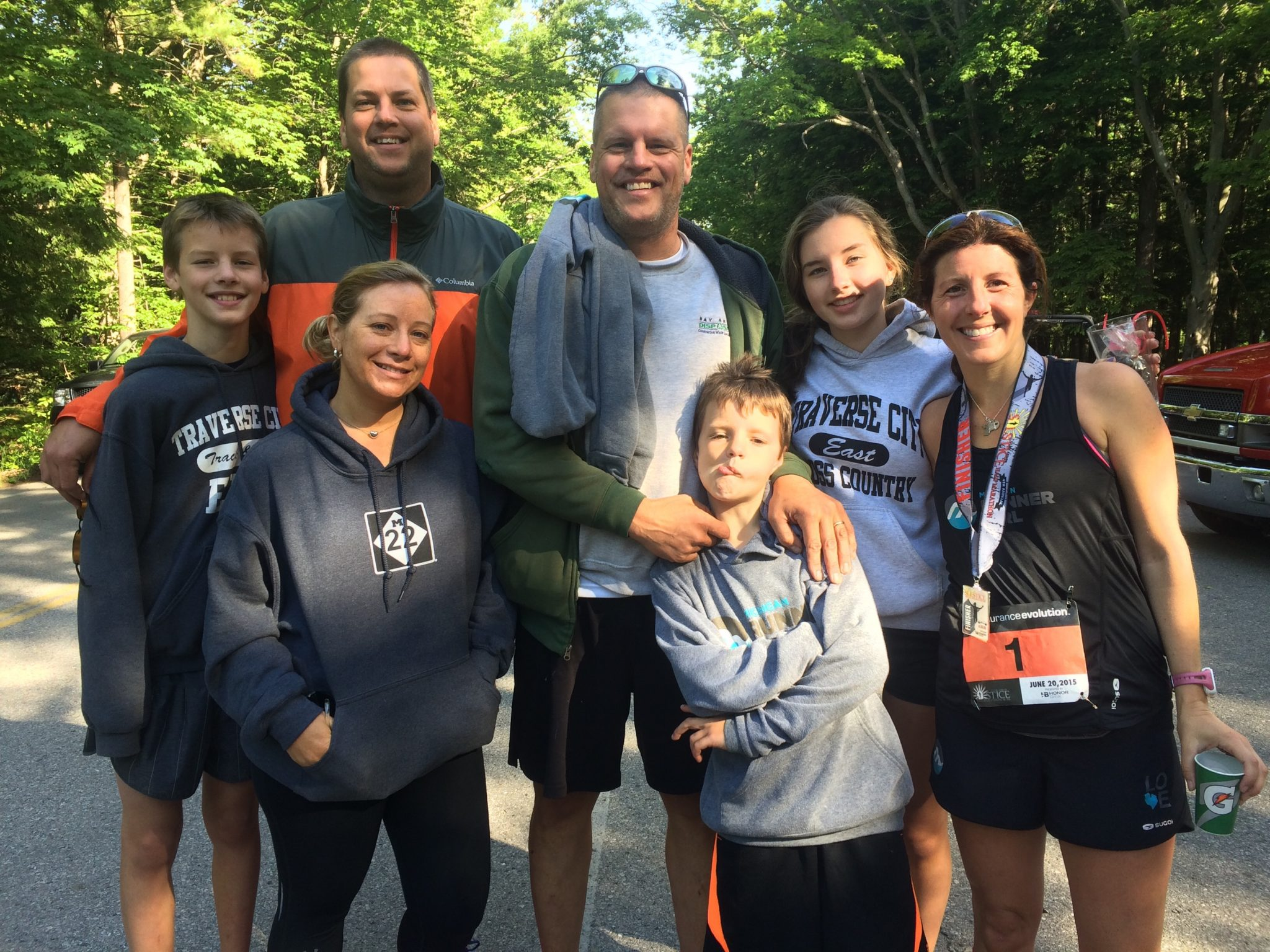 My family, including my brother-in-law Jason and his girlfriend Nicole, at the finish.