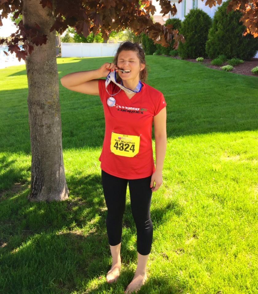 Chelsea, savoring her half marathon finish.
