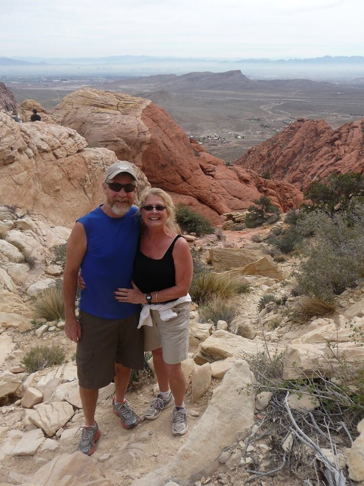 Ross and Nance on a hike in Vegas.