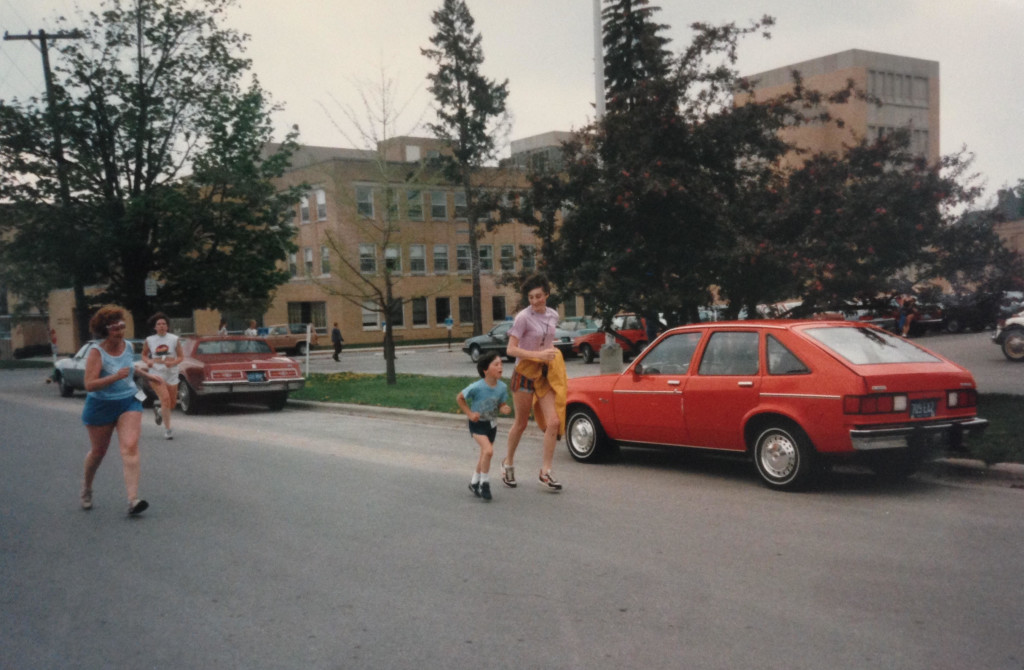 """Retro Running Pic: Joel, circa 1985, and his big sis at a hometown race - """"The Stetholope"""" - held at Munson Hospital. Joel talks about this race (his first ever) during the podcast."""
