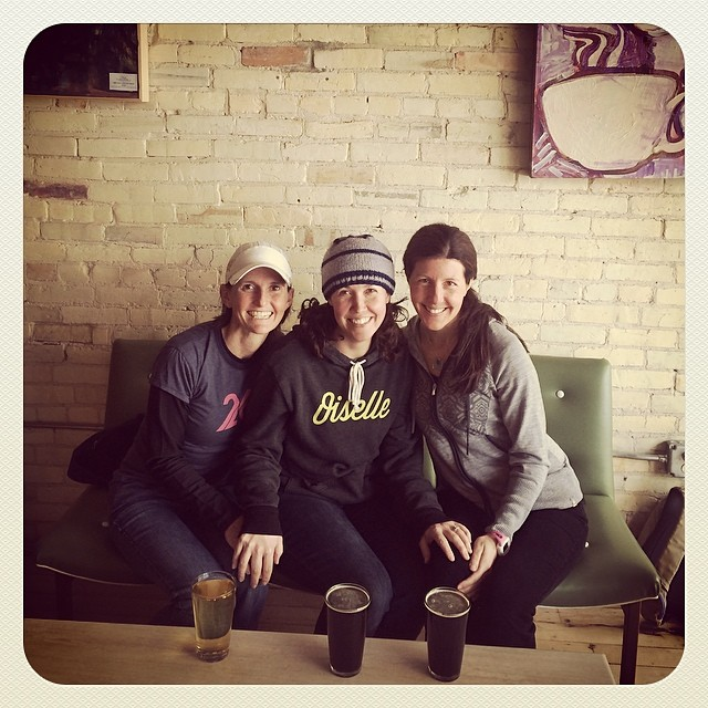 a favorite photo of my sole sisters Krista (left) and Cassy (middle) and me after a long training run.