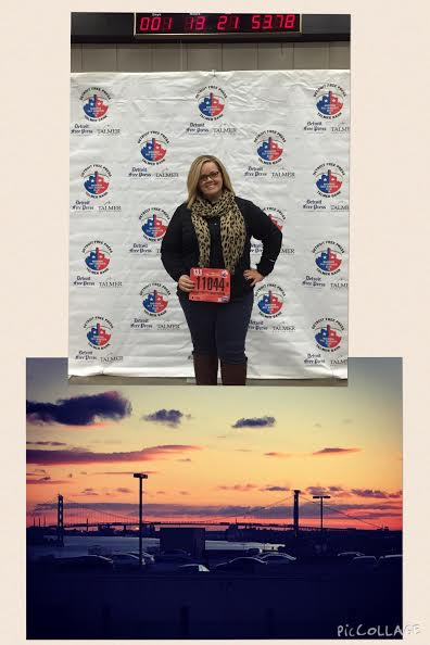 Heather Quinlan holds her race bib for the Detroit Free Press International Half Marathon, held earlier this month. The bottom photo is of the sunset she caught atop the parking garage.