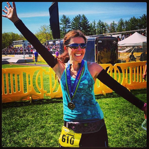 Heather, at the finish of the 2013 Bayshore Marathon.