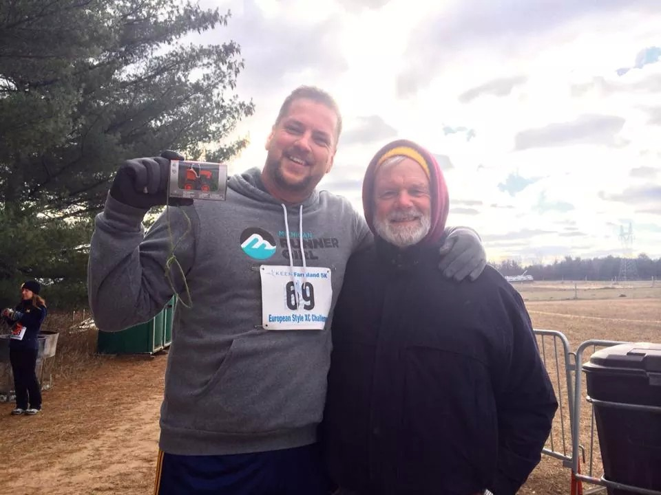 Jason and his dad Mick, my beloved father-in-law, at the 2014 Farmland 5K in Traverse City. Mick came out to cheer on his kids and grandkids at as many races as he could.