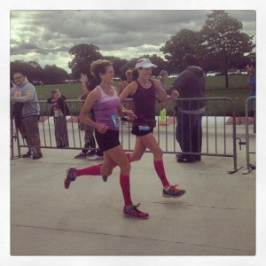 Pam and Heather, helping each other reach the finish line of the 2014 Detroit Goddess Half Marathon on Belle Isle. Running friends are the best.