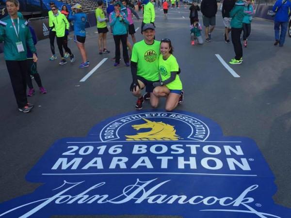 Courtney and her boyfriend Steve, who also ran the marathon, earlier this week in Boston.