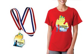 Finisher's medal and tech shirt for the 2016 event.