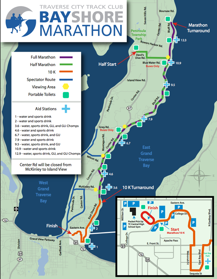 Course map for the marathon, half marathon & 10K. /Courtesy Traverse City Track Club.